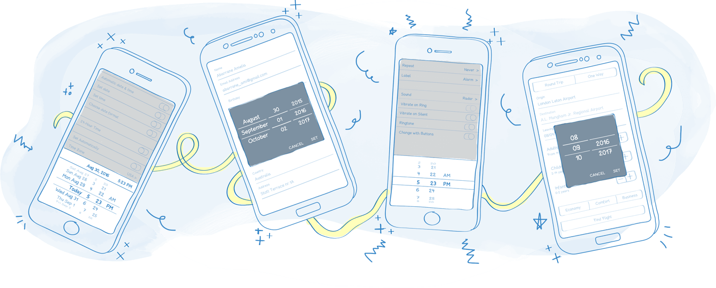 Mobile Date & Time Picker Control